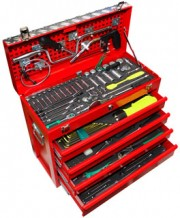red, steel tool box with tools