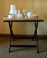 folding table with food service tray