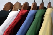 clothing on wooden hangers