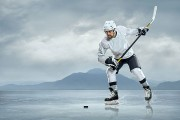 ice hockey player on a frozen lake