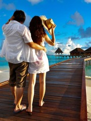 tourist couple at a resort