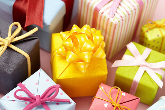 gifts in assorted gift boxes