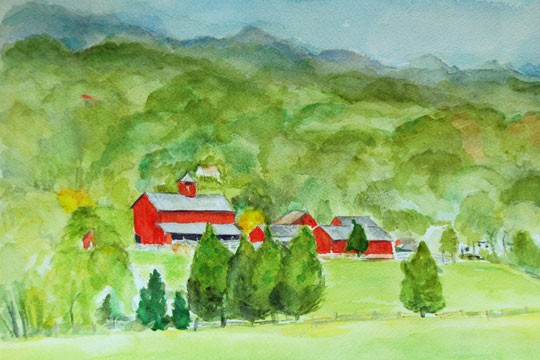 several red barns