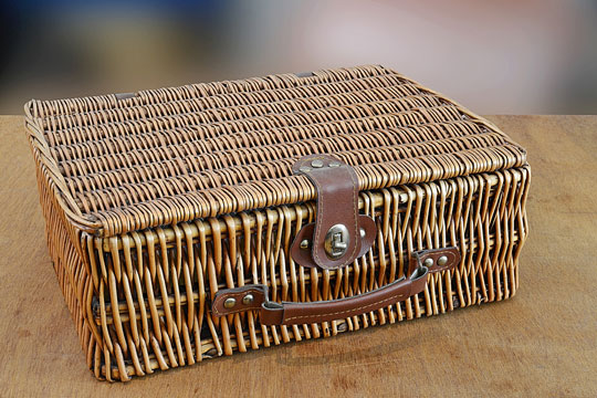 retro wicker valise